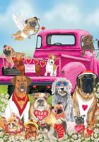 Happy Valentine's Dogs Garden Flag