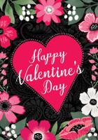 Happy Valentine's Floral Garden Flag