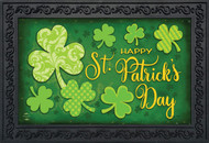 "Lucky Shamrocks St. Patrick's Day Doormat Clovers Indoor Outdoor 18"" x 30"""