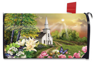 Spring Church Mailbox Cover