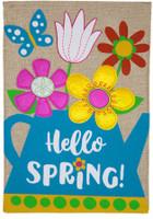 Spring Watering Can Burlap Garden Flag