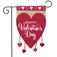 Happy Valentine's Hearts Burlap Garden Flag