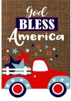 God Bless America Truck Burlap Garden Flag