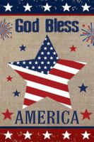 God Bless America Star Burlap Garden Flag