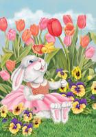 Bunny and Tulips Garden Flag