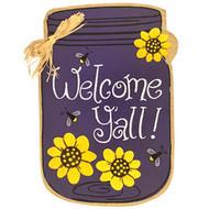 Welcome Y'all Jar Burlap House Flag