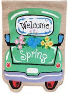 Welcome Spring Truck Burlap Garden Flag
