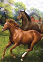 Galloping Horses Garden Flag