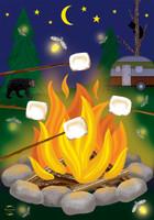 Campfire S'mores Garden Flag