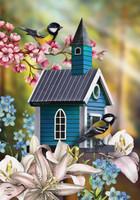 Peaceful Birdhouse House Flag