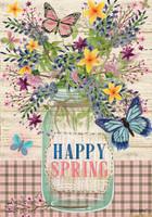 Happy Spring Mason Jar House Flag