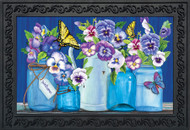 Butterflies and Pansies Doormat