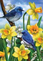 Bluebirds And Daffodils Garden Flag