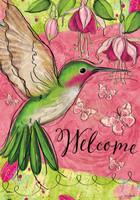 Blissful Hummingbird Garden Flag