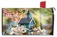 Peaceful Birdhouse Mailbox Cover