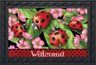 Ladybugs on Leaves Doormat