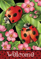 Ladybugs on Leaves House Flag