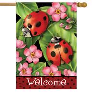 Ladybugs on Leaves House Flag