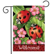 Ladybugs on Leaves Garden Flag