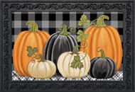Checkered Pumpkins Doormat