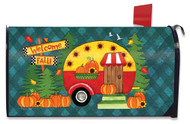 Welcome Fall Camper Mailbox Cover