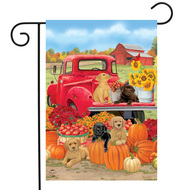 Fall Puppies Garden Flag