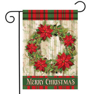 Poinsettia Wreath Garden Flag