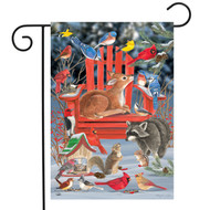 Snow Day Gathering Garden Flag