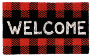Red Checkered Welcome Coir Doormat (Case Pack - 4)