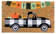 Black Checkered Truck Coir Doormat (Case Pack - 4)