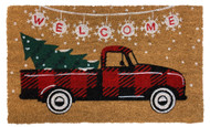 Red Checkered Truck Coir Doormat (Case Pack - 4)