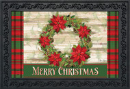 Poinsettia Wreath Doormat