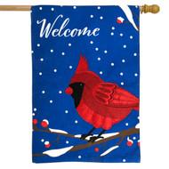Cardinal Burlap Welcome House Flag