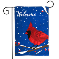 Cardinal Burlap Welcome Garden Flag