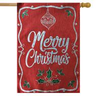 Merry Christmas Burlap Holiday House Flag