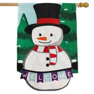 Winter Snowman Welcome Burlap House Flag