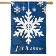 Let It Snow Snowflakes Applique House Flag