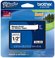 TZe-231 P-Touch Label Tape Black on White 1/2""