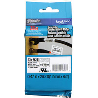 TZe-FX231 P-Touch Flexible ID Label Tape Black on White 1/2""