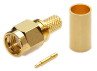 SMA Male Straight Connector For RG58/RG142/RG223/RG400/LMR195/LOW195 - Crimp Connector with Solder Pin