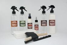 Picture need to be updated to show:  * LeatherDyeRemover-7.9  - 60ml * LeatherAcidifier-2.0 - 250ml-Fill * LeatherHydrator-3.3 - 250ml-Fill * LeatherFatliquor-5.0 - 250ml-Fill * LeatherProtector-D - 250ml-Fill * Towel-5 - 5pcs * FoamBrush-3 - 1pc * HorsehairBrush-1 - 1pc