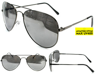 Classic Metal Aviator Sunglasses with Silver Mirror Lenses
