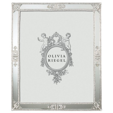 "Olivia Regal Deco Mirror Frame   Photo size: 8""x10"" Deco styling with hundreds of hand-set clear Swarovski® crystals, rhinestones, and mirrored glass in cast pewter with silver tone metal finish and an elegant moiré silk back. Weight: 2.1 lb (includes gift box) Retail: $375.00"