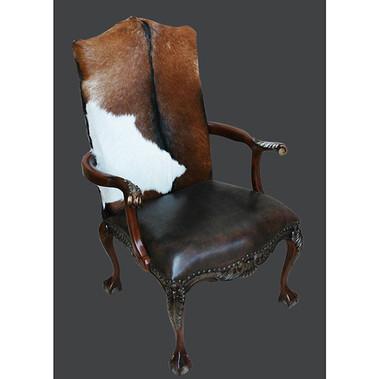Chip Club Chair W/ Lthr & Hide Item #  11153803