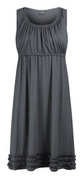 Ruffle-hemmed maternity and nursing lounge dress