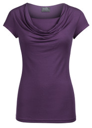 Cowl neck top in short sleeves