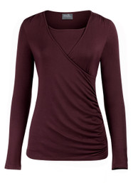 Side-shirred nursing top in long sleeves