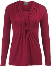 Gathered-loop nursing top in long sleeves