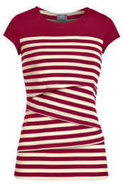 Striped solid yoke nursing top in red