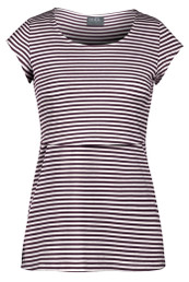Sleek wine striped scoop neck nursing top
